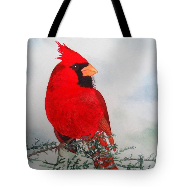 Tote Bag featuring the painting Cardinal by Laurel Best