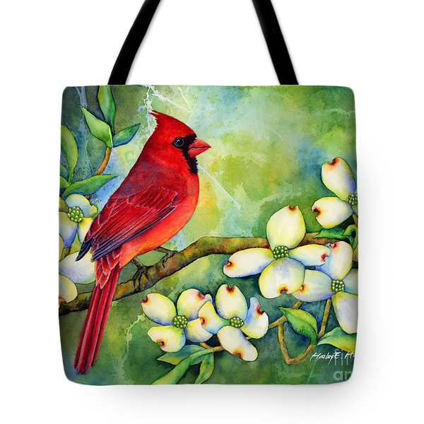 Cardinal On Dogwood Tote Bag