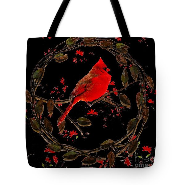 Cardinal On Metal Wreath Tote Bag