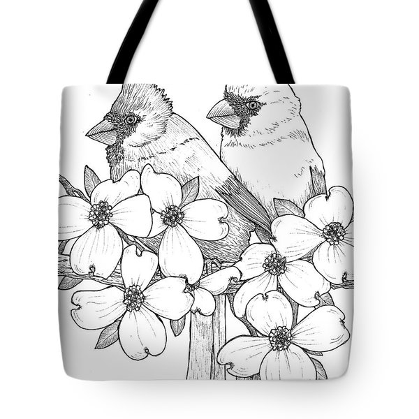 Cardinals And Dogwoods Tote Bag by Jim Harris