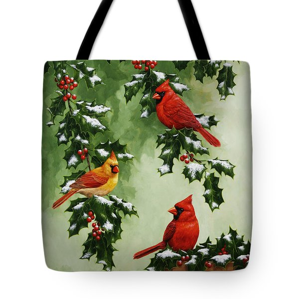 Cardinals And Holly - Version With Snow Tote Bag