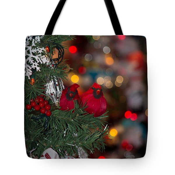 Tote Bag featuring the photograph Cardinals At Christmas by Patricia Babbitt