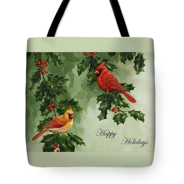 Cardinals Holiday Card - Version Without Snow Tote Bag by Crista Forest