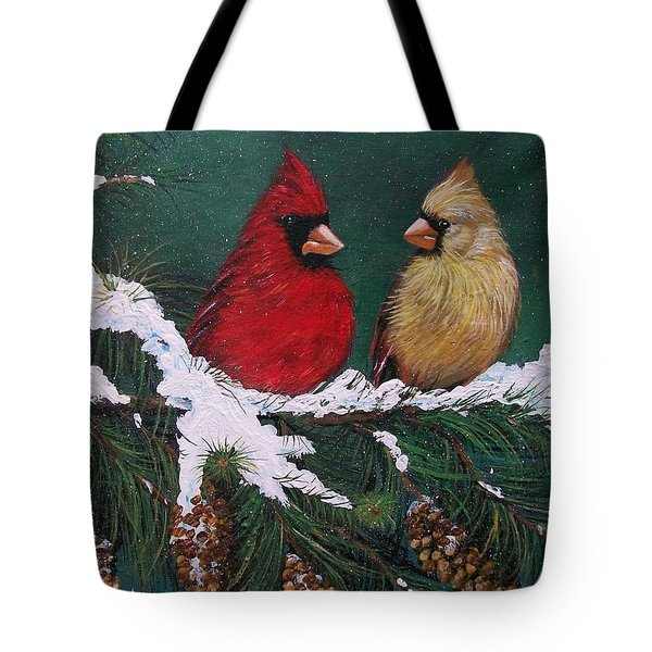 Cardinals In The Snow Tote Bag