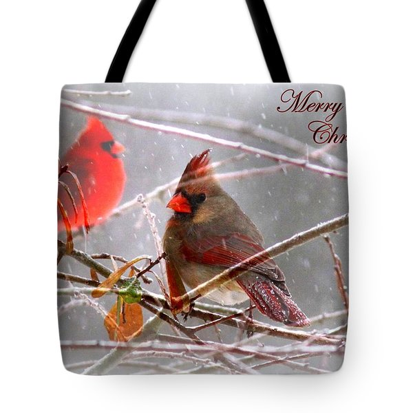 Cardinals - Male And Female - Img_003card Tote Bag by Travis Truelove