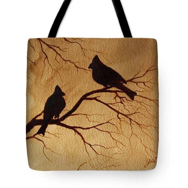 Tote Bag featuring the painting Cardinals Silhouettes Coffee Painting by Georgeta  Blanaru