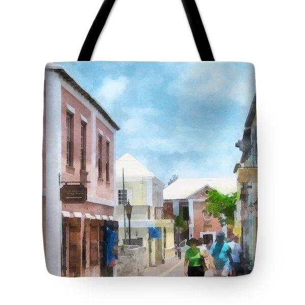 Caribbean - A Street In St. George's Bermuda Tote Bag by Susan Savad