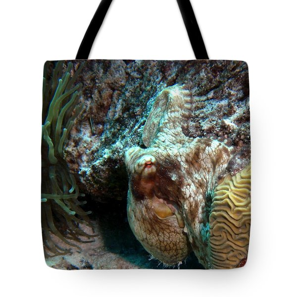 Caribbean Reef Octopus Next To Green Anemone Tote Bag