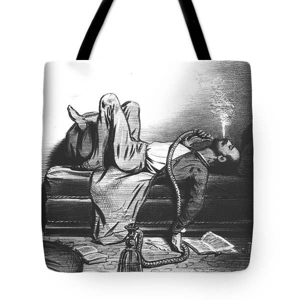 Caricature Of The Romantic Writer Searching His Inspiration In The Hashish Tote Bag by French School