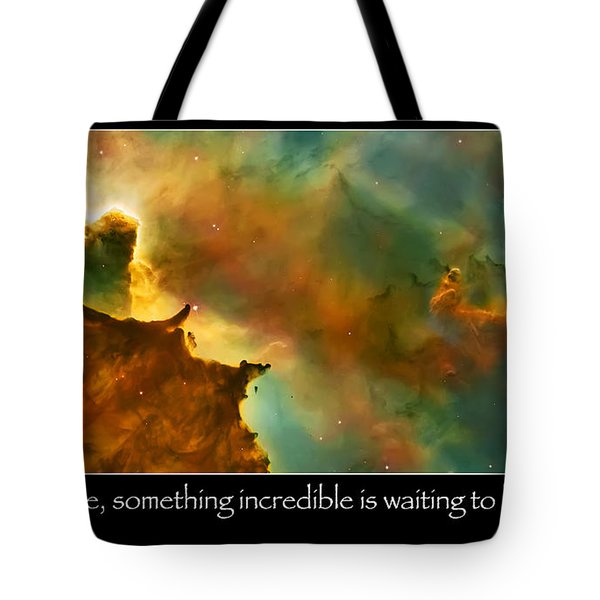Carl Sagan Quote And Carina Nebula 3 Tote Bag by Jennifer Rondinelli Reilly - Fine Art Photography