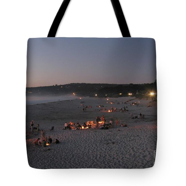 Tote Bag featuring the photograph Carmel Beach Bonfires by James B Toy