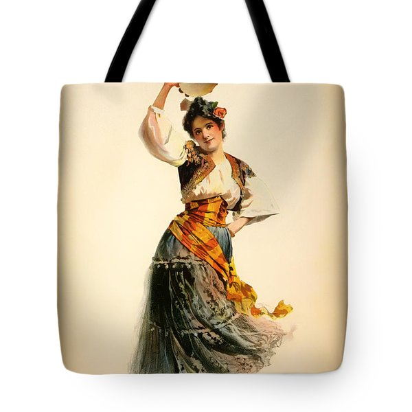 Antique Theatre Poster - Carmen 1898 Tote Bag