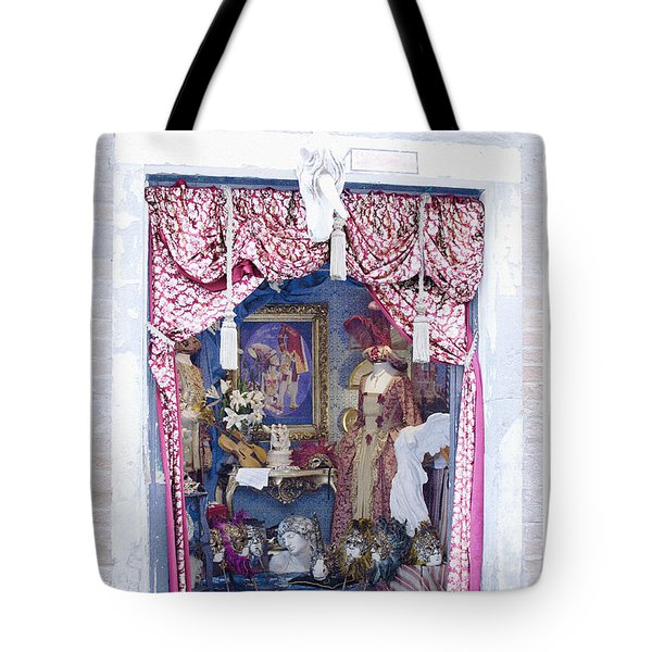 Tote Bag featuring the digital art Carnevale Shop In Venice Italy by Victoria Harrington