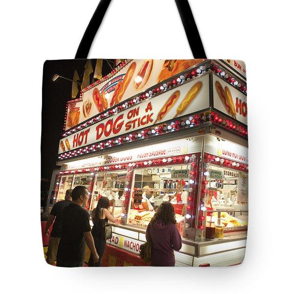 Carnival Hot Dog On A Stick Tote Bag by Jason O Watson