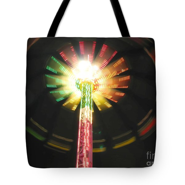 Tote Bag featuring the photograph Carnival Ride At Night by Connie Fox