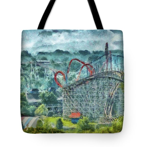 Carnival - The Thrill Ride Tote Bag by Mike Savad