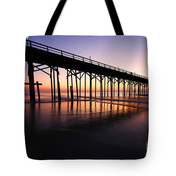 North Carolina Beach Pier - Sunrise Tote Bag