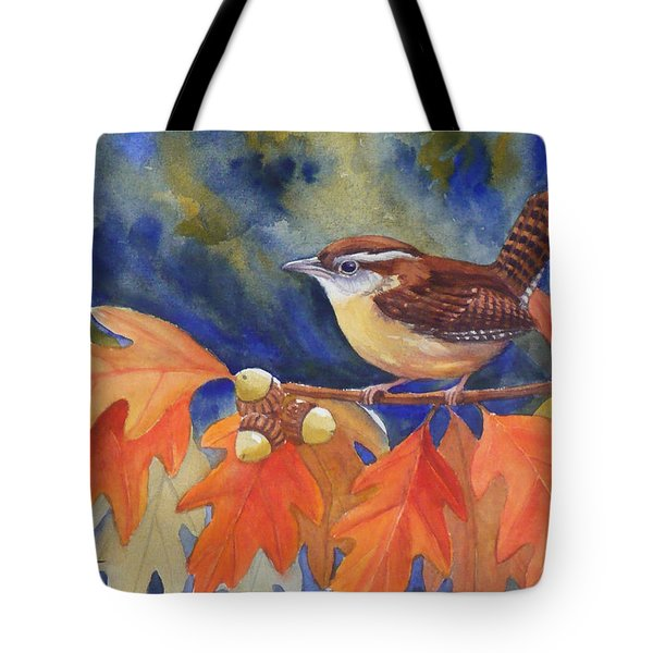 Carolina Wren In Autumn Tote Bag