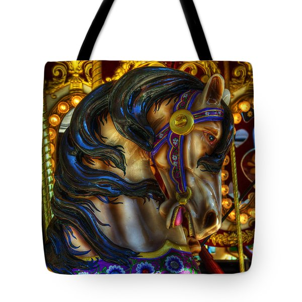 Carousel Beauty Waiting For A Rider Tote Bag by Bob Christopher