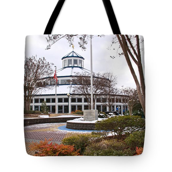 Carousel Building In Snow Tote Bag by Tom and Pat Cory