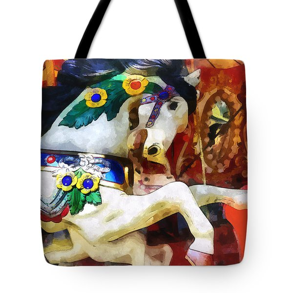 Carousel Horse Closeup Tote Bag by Susan Savad
