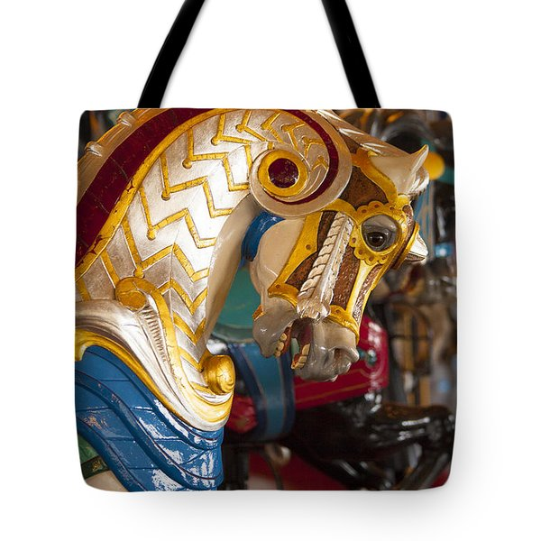 Colorful Carousel Merry-go-round Horse Tote Bag by Jerry Cowart