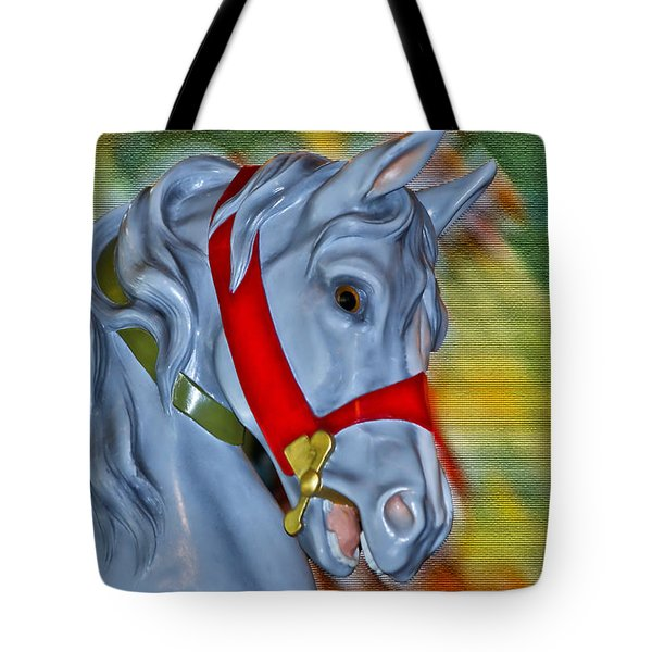 Carousel Horse Red Bridle Tote Bag by Thomas Woolworth