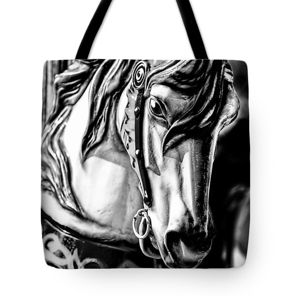 Carousel Horse Two - Bw Tote Bag