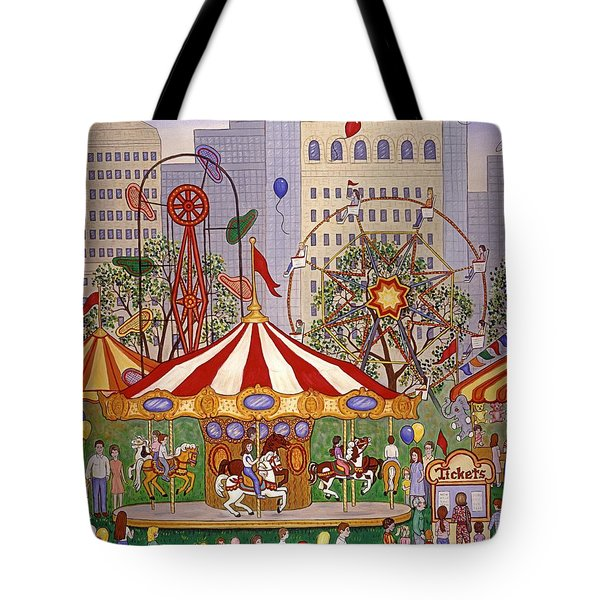 Carousel In City Park Tote Bag by Linda Mears