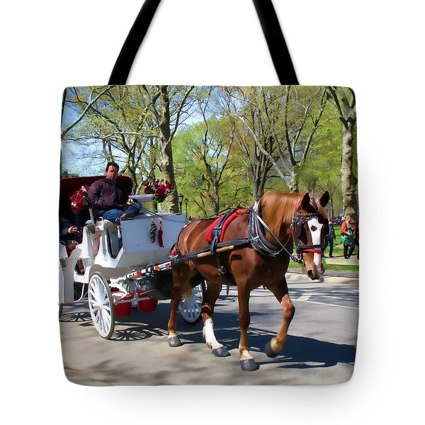 Carriage Ride In Central Park Tote Bag by Eleanor Abramson