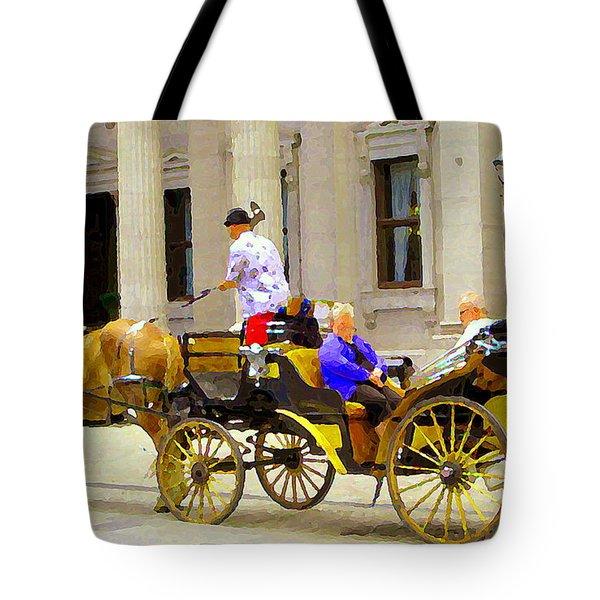 Carriage Ride On Cobblestones Rue Notre Dame Tan Horse Golden Caleche Old Port Quebec Scene Cspandau Tote Bag by Carole Spandau