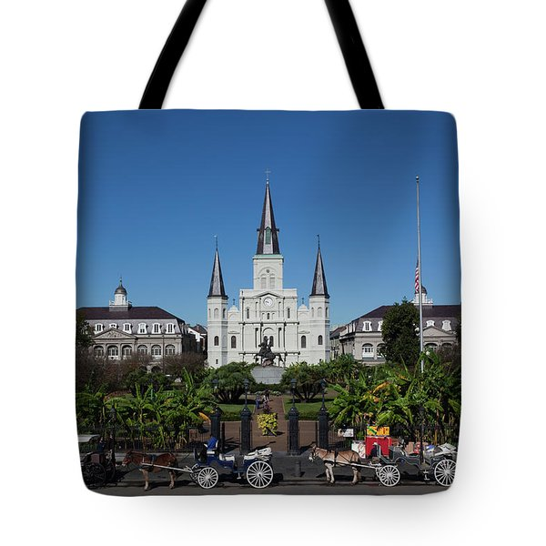 Carriages In Front Of A Cathedral, St Tote Bag