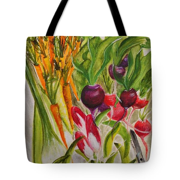 Carrots And Radishes Tote Bag by Jamie Frier