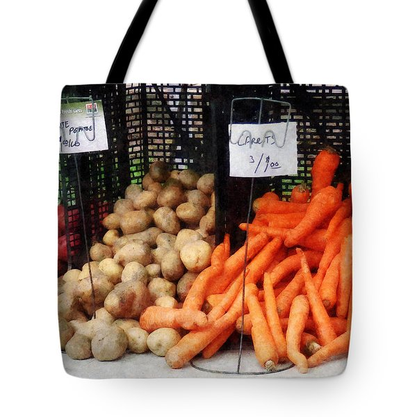 Tote Bag featuring the photograph Carrots Potatoes And Honey by Susan Savad