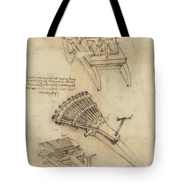 Cart And Weapons From Atlantic Codex Tote Bag by Leonardo Da Vinci