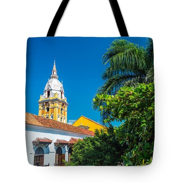 Cartagena Cathedral And Palm Tree Tote Bag