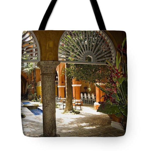 Cartagena Courtyard Tote Bag