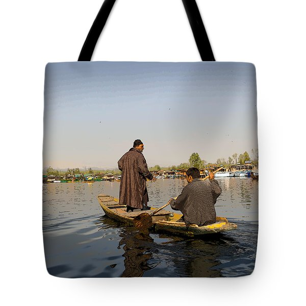 Cartoon - Kashmiri Men Plying A Wooden Boat In The Dal Lake In Srinagar Tote Bag