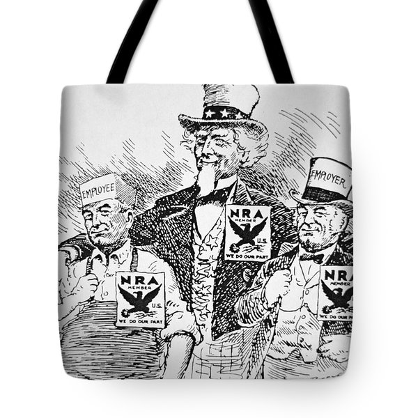 Cartoon Depicting The Impact Of Franklin D Roosevelt  Tote Bag by American School