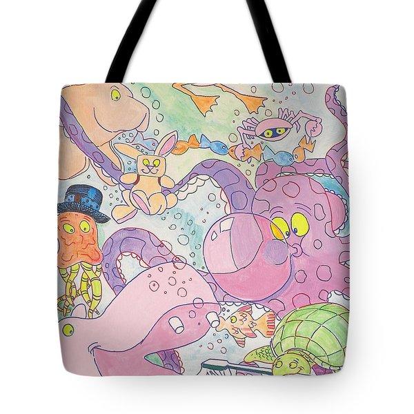 Cartoon Sea Creatures Tote Bag