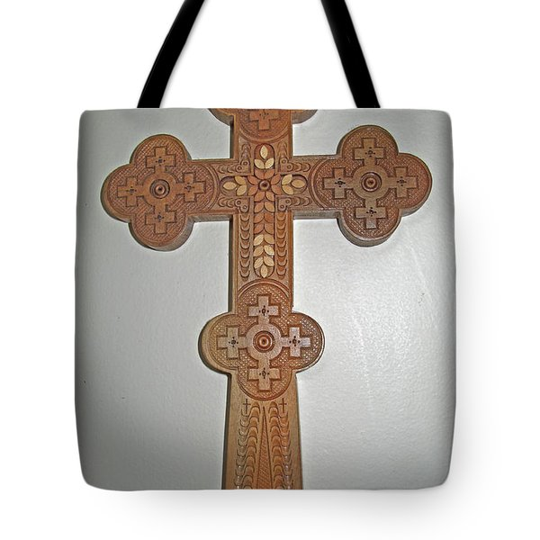 Carved Ukrainian Wooden Cross Tote Bag by Barbara McDevitt