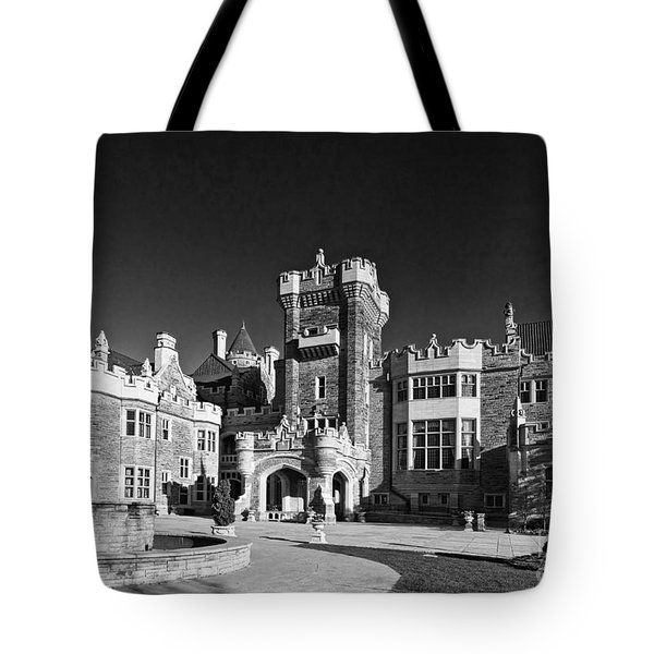 Casa Loma In Toronto In Black And White Tote Bag