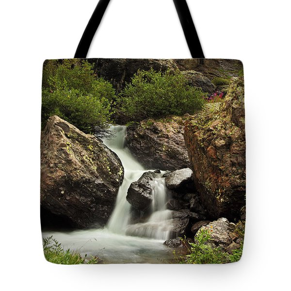 Tote Bag featuring the photograph Cascade In Lower Ice Lake Basin by Alan Vance Ley