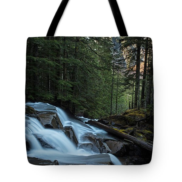 Cascading Mountain Falls Tote Bag by Mike Reid