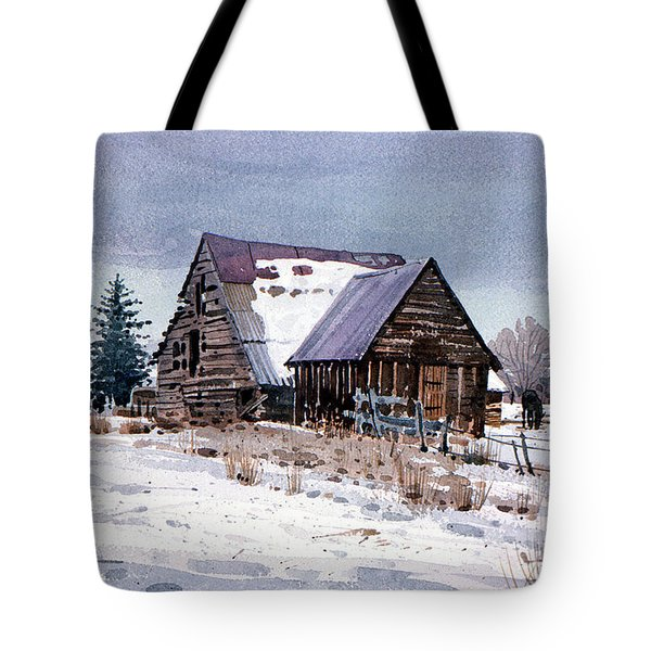 Tote Bag featuring the painting Cache Valley Barn by Donald Maier