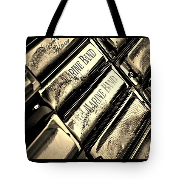 Case Of Harmonicas  Tote Bag by Chris Berry