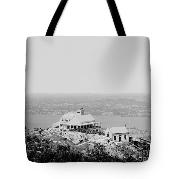 Casino At The Top Of Mt Beacon In Black And White Tote Bag