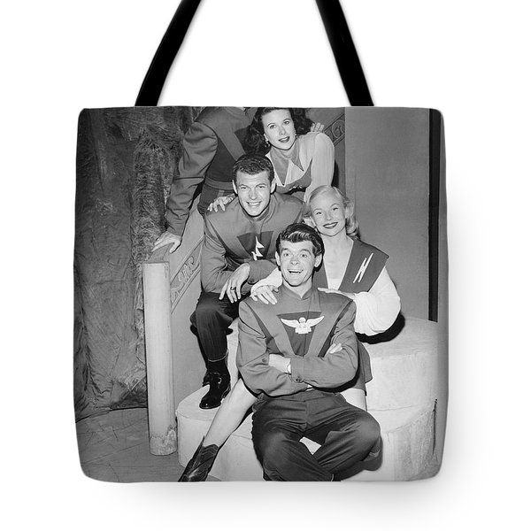 Cast Of Space Patrol Tote Bag by Underwood Archives