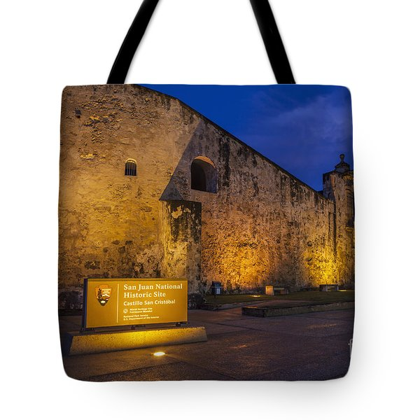 Tote Bag featuring the photograph Castillo San Cristobal In Old San Juan Puerto Rico by Bryan Mullennix