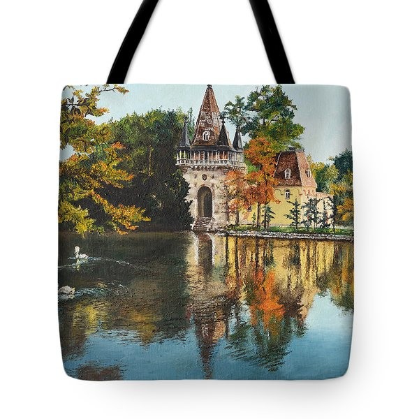 Tote Bag featuring the painting Castle On The Water by Mary Ellen Anderson